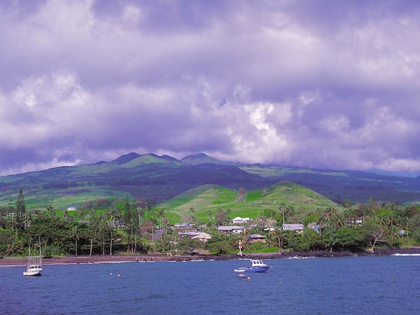 The slopes of Haleakala from Hana Bay